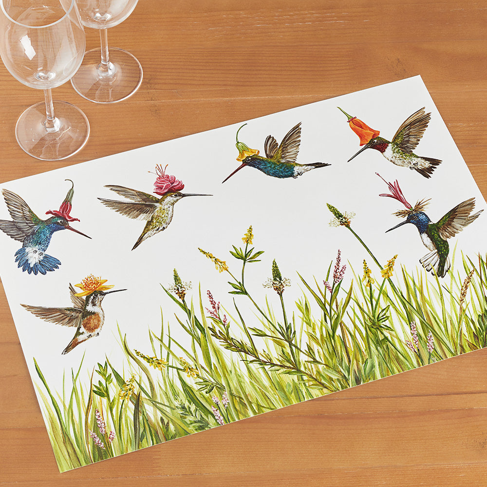 Hester & Cook Paper Placemats, Hummingbirds