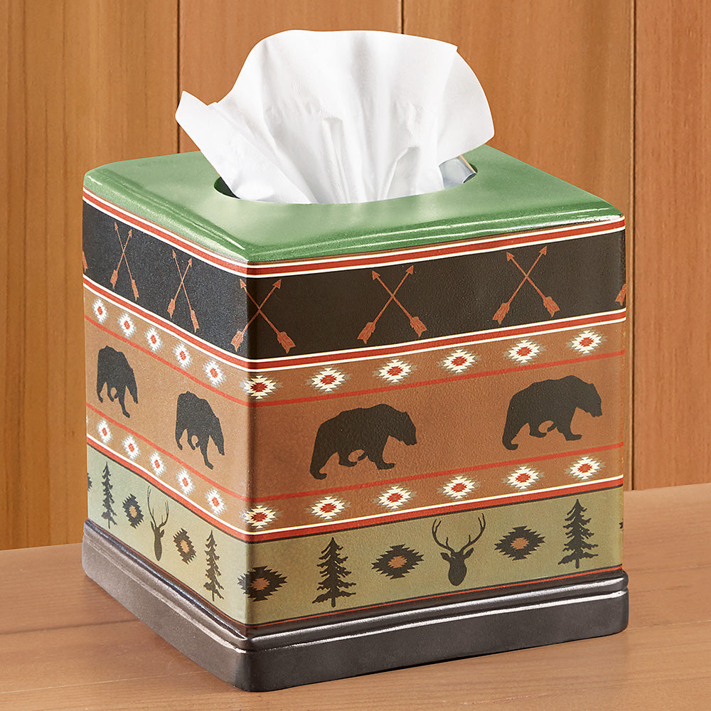 HiEnd Accents Rustic Tissue Holder, Aztec Bear