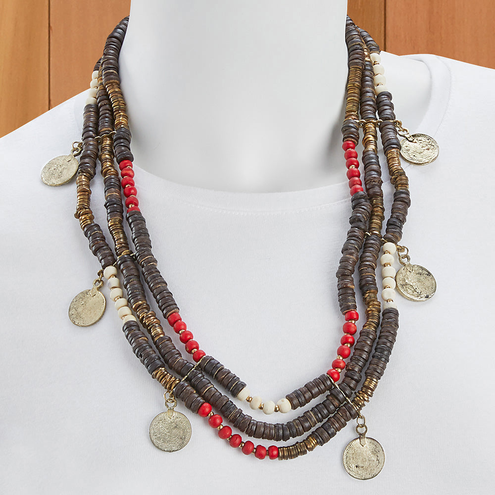 Beaded Coin Multi Strand Necklace