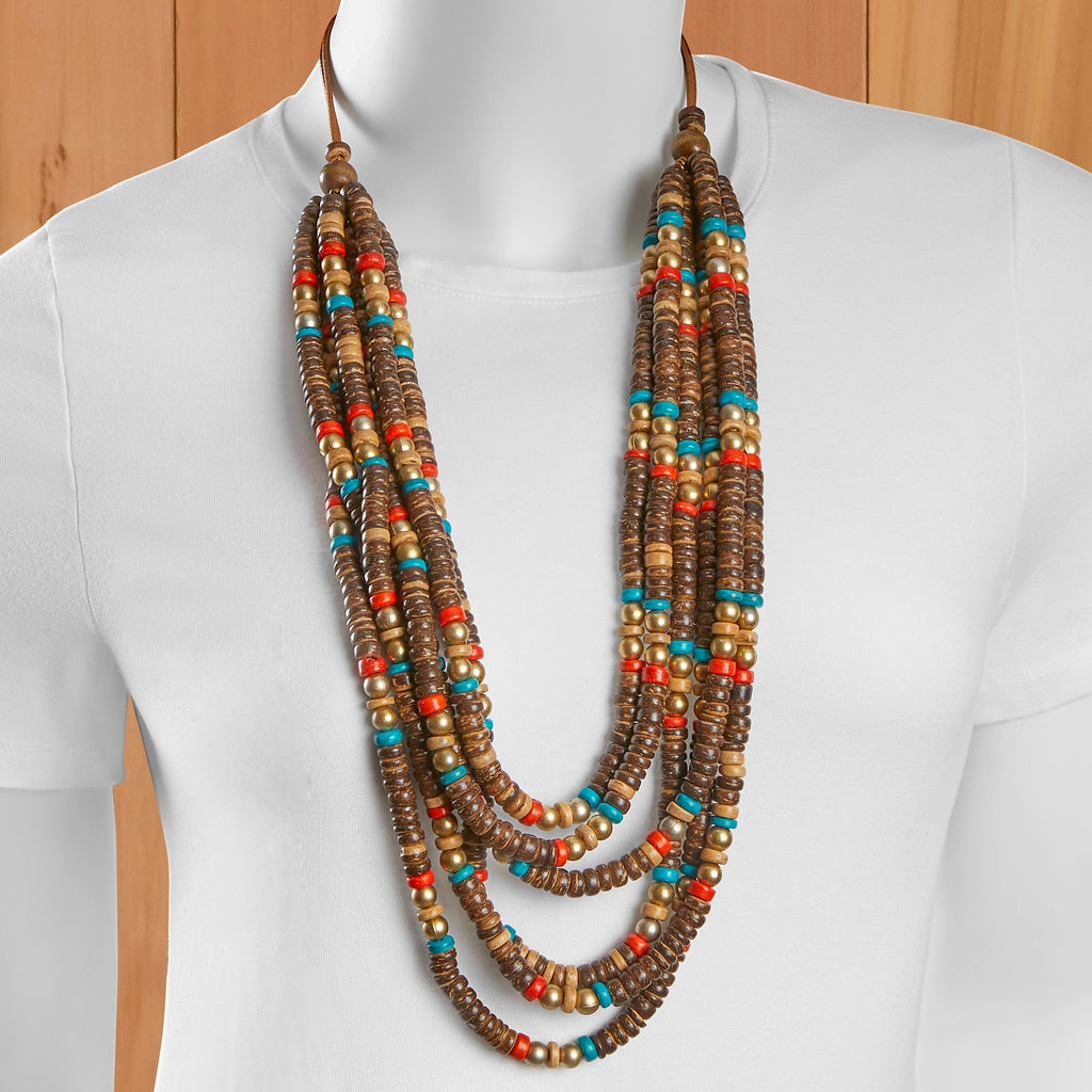 Six Strand Beaded Necklace and Earring Set