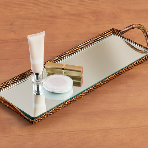 Calaisio Woven Rectangular Bathroom Tray with Mirror