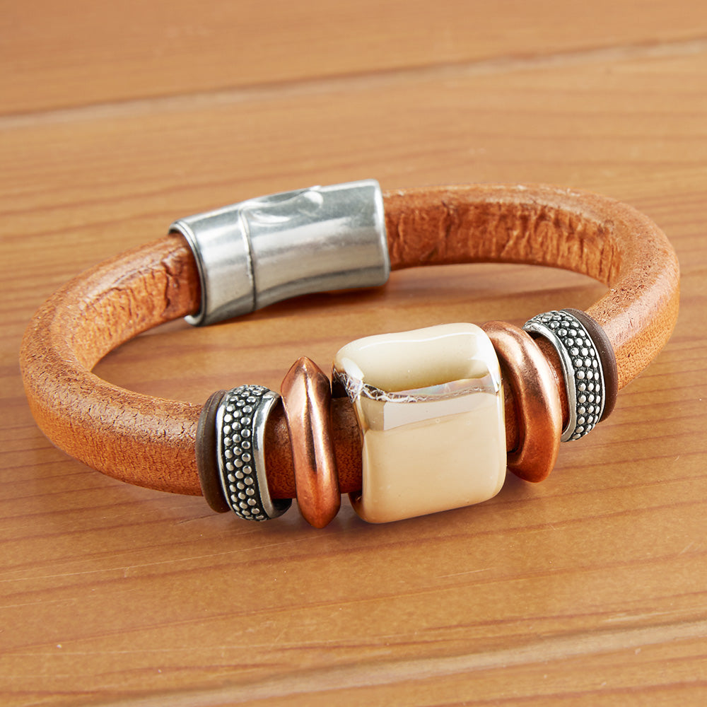Montana Leather Beaded Leather Bracelet, Lodge Collection