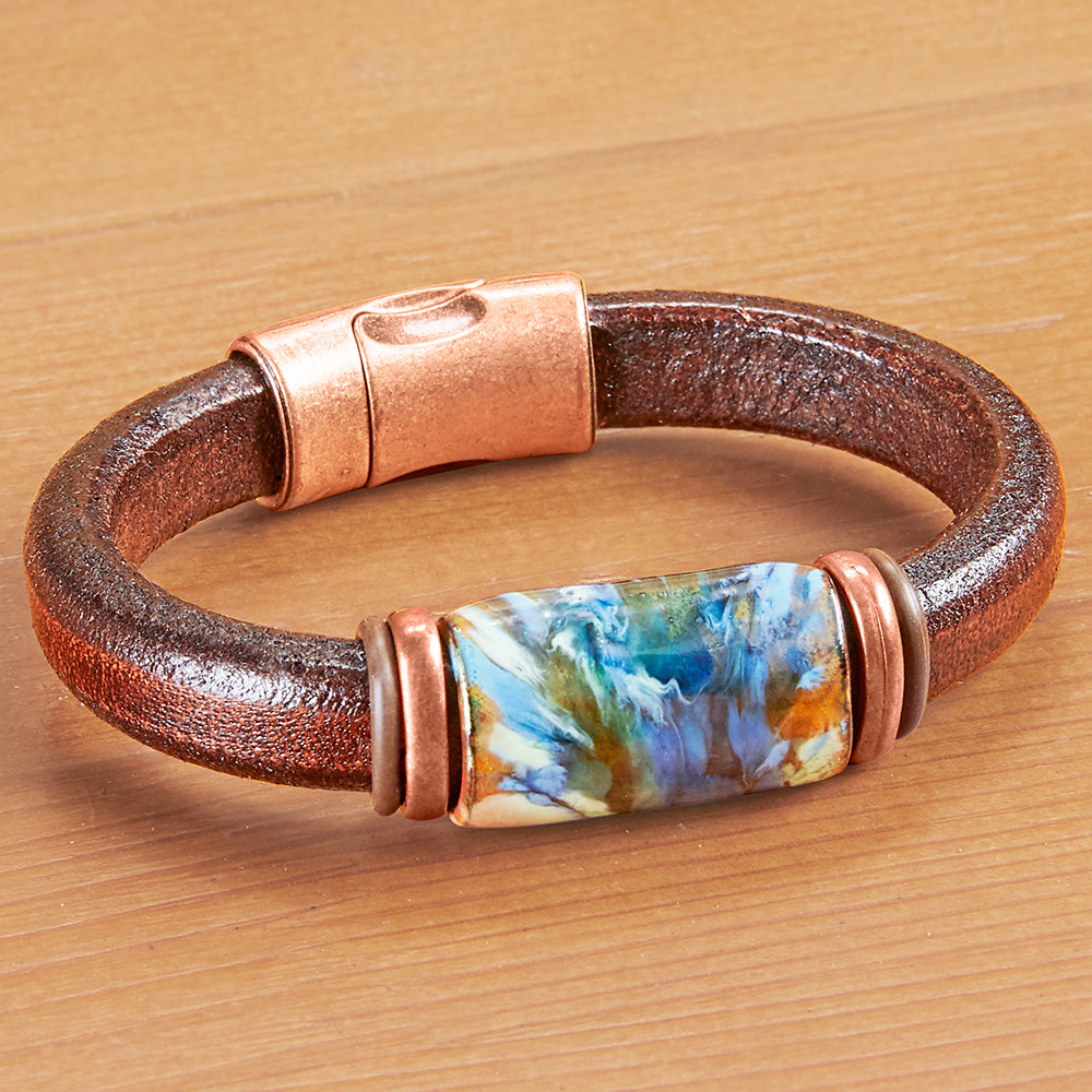 Montana Leather Beaded Leather Bracelet, Copper Mine Collection