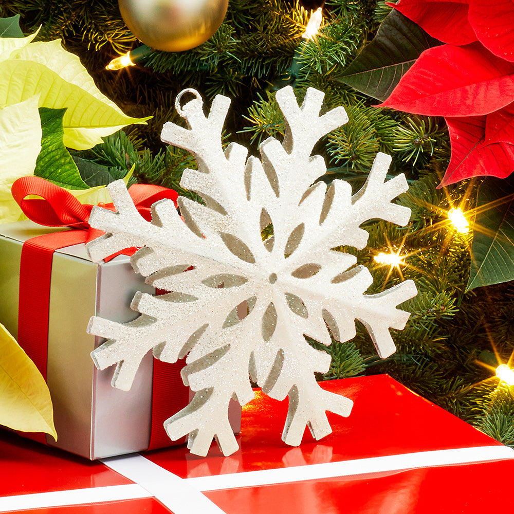 "White Metal Snowflake Ornament - 3"" and 8"""