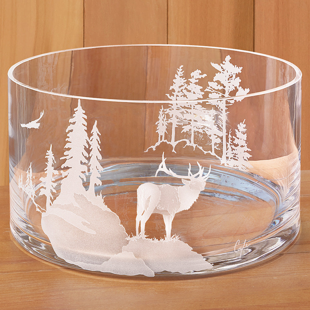 Evergreen Crystal Etched Serving Bowl, Forest Elk
