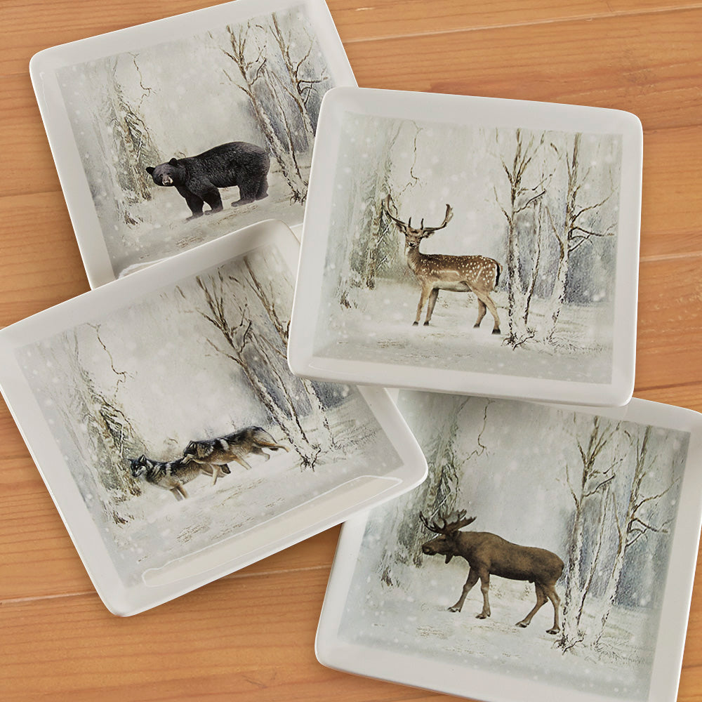 Winter Animal Dessert Plates, Set of 4