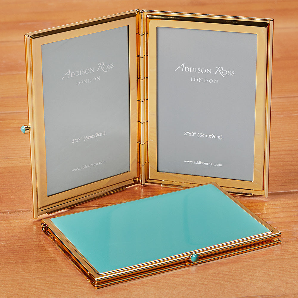 Addison Ross Blue Enamel Travel Picture Frame