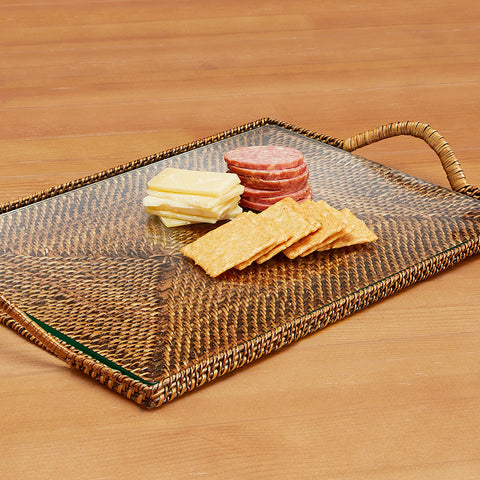 Calaisio Woven Rectangular Serving Tray with Glass Insert