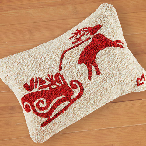"Chandler 4 Corners 15"" x 30"" Hooked Pillow, Dashing Through the Snow"
