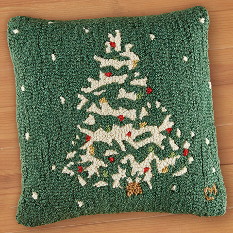 "Chandler 4 Corners 18"" Hooked Pillow, Deep Winter Tree with Lights"