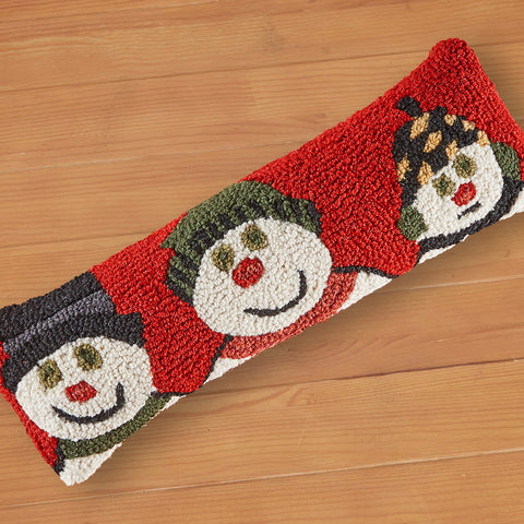 "Chandler 4 Corners 8"" x 24"" Hooked Pillow, Snowman Family"