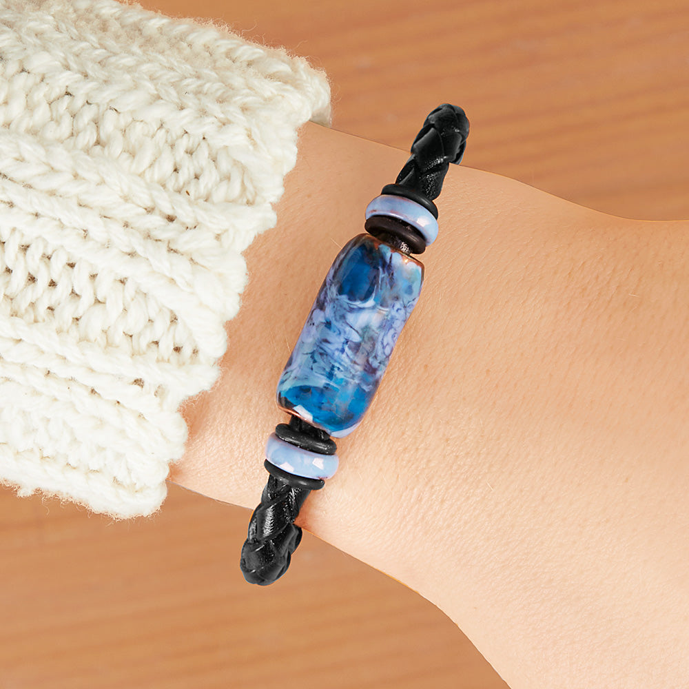Montana Leather Beaded Leather Bracelet, Big Sky Collection - Blue Jay