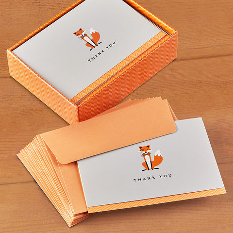 Embossed Thank You Card Set, Dapper Fox