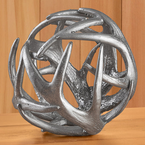 Decorative Silver Antler Ball