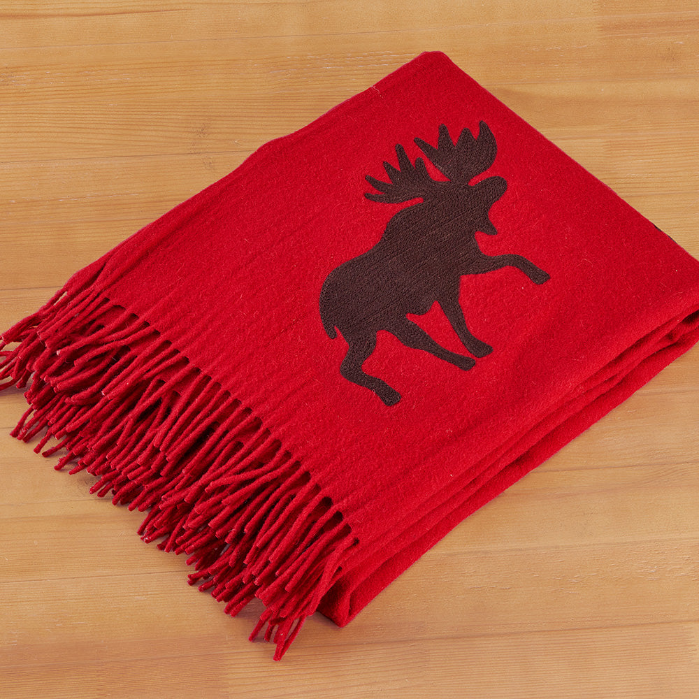 "Chandler 4 Corners 52"" x 70"" Wool Throw, Moose on Move"