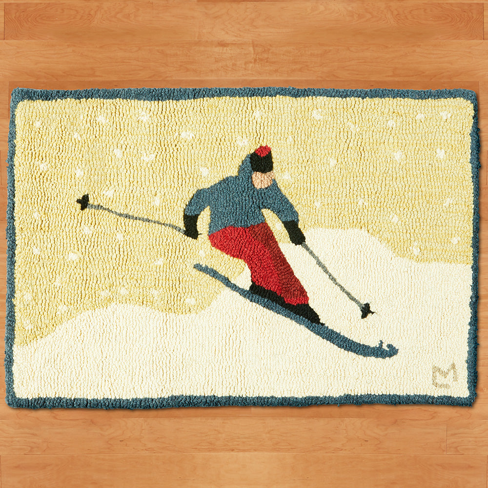 "Chandler 4 Corners 20"" x 30"" Hooked Rug, Sunny Day Skier"