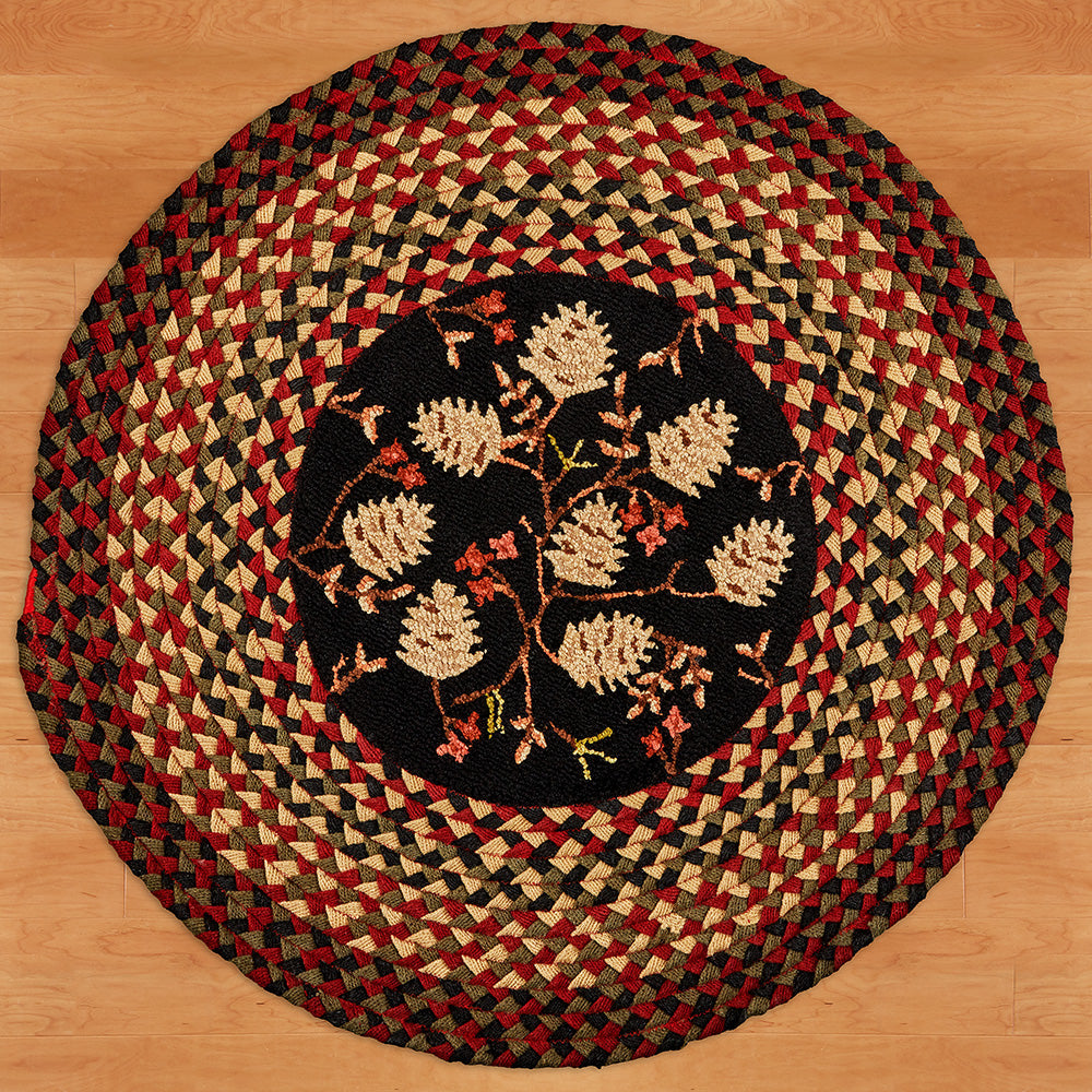 "Chandler 4 Corners 45"" Round Hook 'N Braid Rug, Pinecones & Berries"