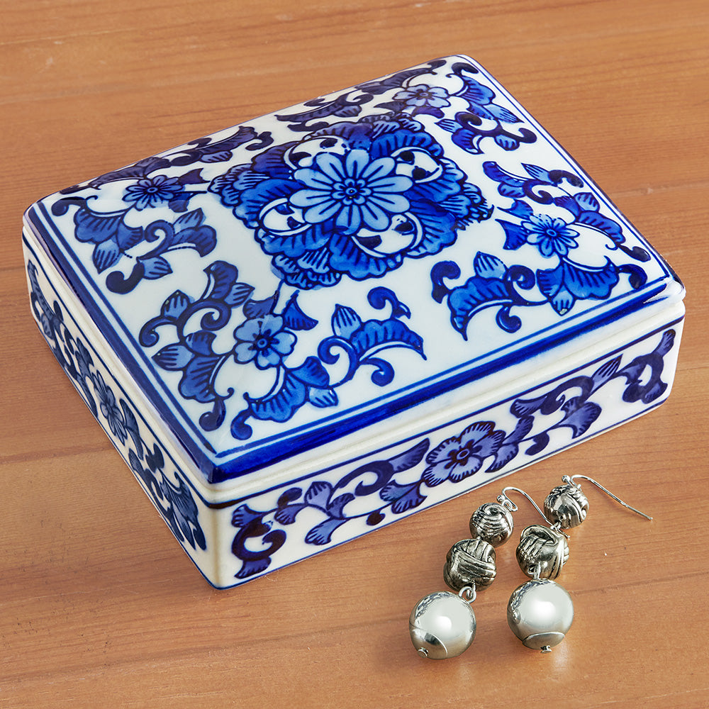 8 Oak Lane Blue Chinoiserie Ceramic Trinket Box