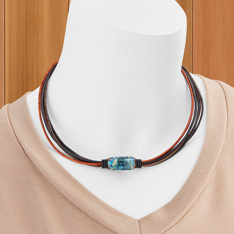 Montana Leather Beaded Leather Necklace, Big Sky Collection