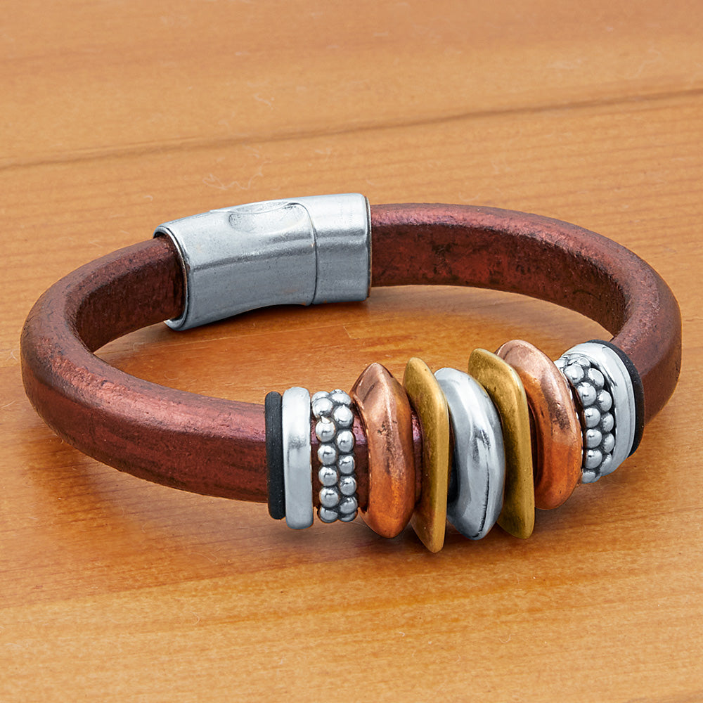 Montana Leather Bracelet, Metallic Collection - Virginia City