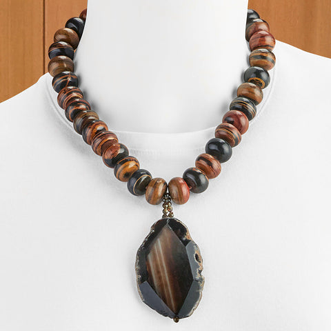 "Hazen & Co. ""Lina"" African Brown Beaded Opal Necklace"