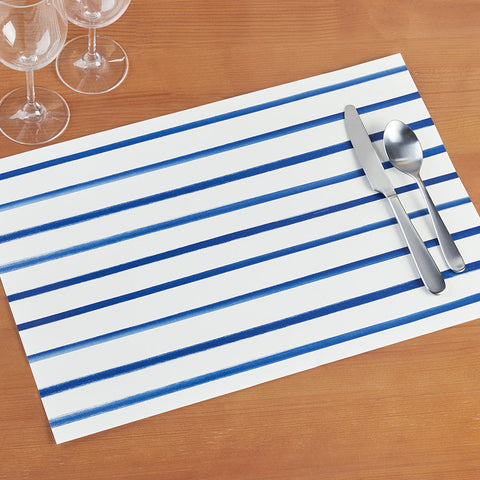 Hester & Cook Paper Placemats, Navy Stripe