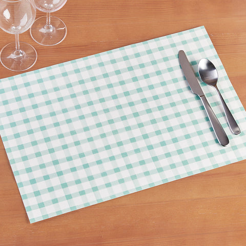 Hester & Cook Paper Placemats, Seafoam Check