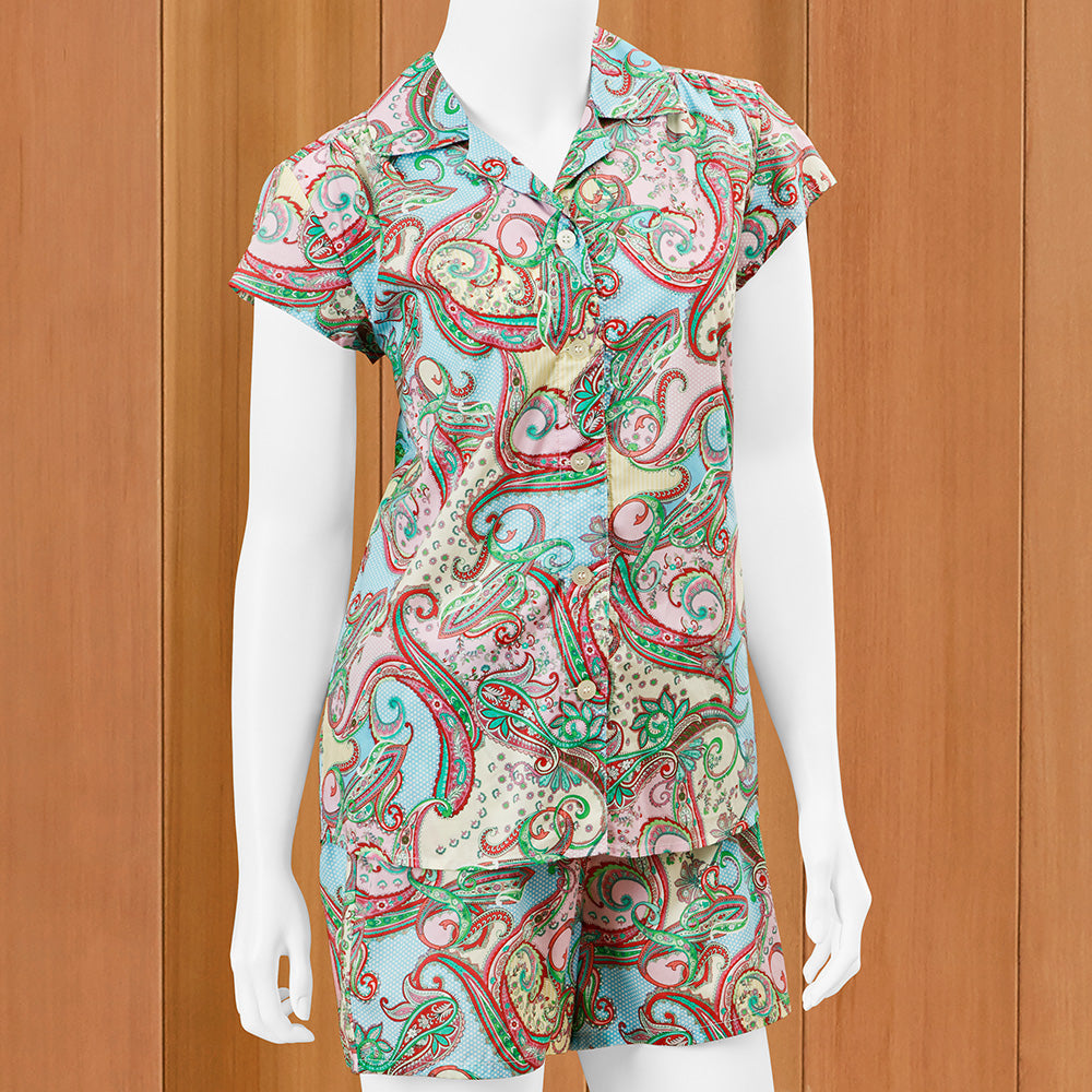 The Cat's Pajamas Women's Luxe Pima Short Pajama Set, Summer of Love