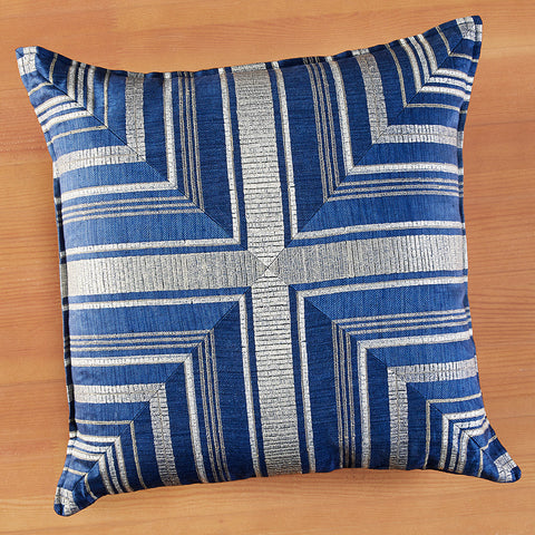 "Coral & Tusk 20"" x 20"" Embroidered Linen Accent Pillow, Mariner Stripe Indigo"