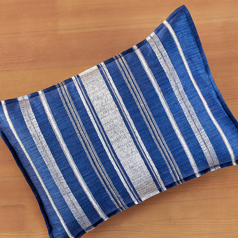 "Coral & Tusk 12"" x 16"" Embroidered Linen Accent Pillow, Coastal Stripe Indigo"