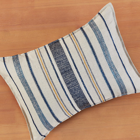 "Coral & Tusk 12"" x 16"" Embroidered Linen Accent Pillow, Coastal Stripe"