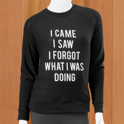 "Mary Square Women's Crewneck Sweatshirt, ""I Came, I Saw, I Forgot What I Was Doing"""