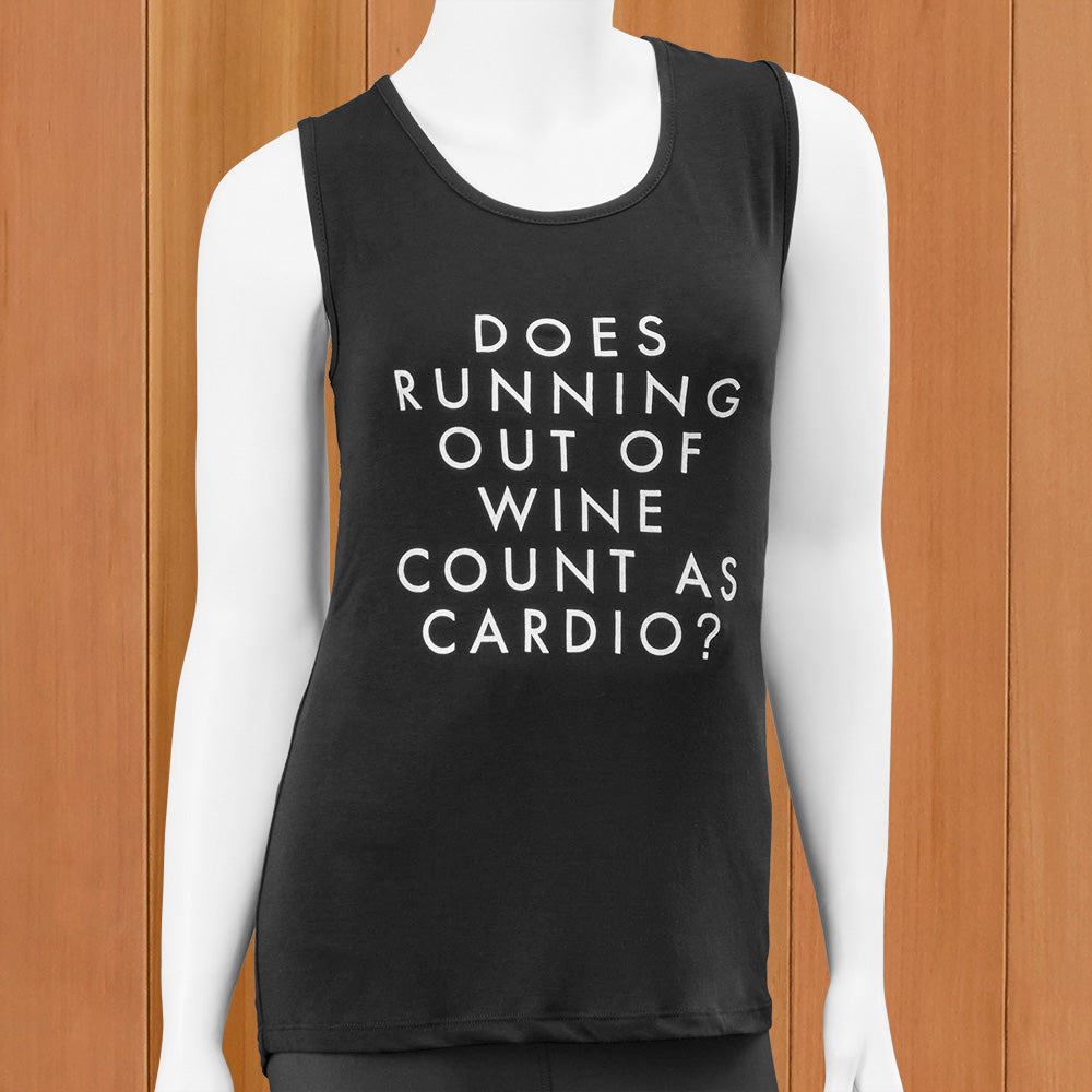 "Mary Square Women's Tank Top, ""Does Running Out of Wine Count as Cardio?"""