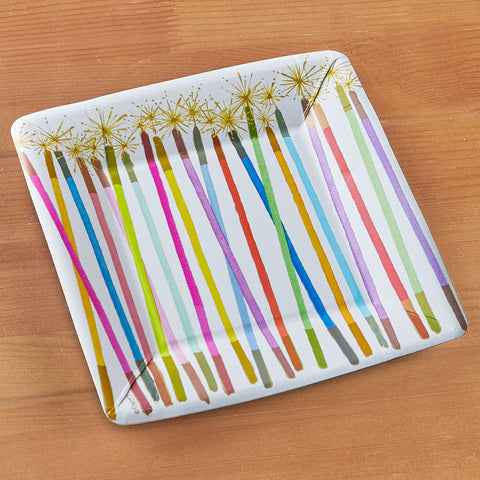 Caspari Square Paper Plates, Party Candles