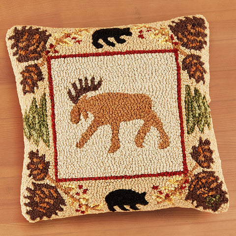 "Chandler 4 Corners 18"" Hooked Pillow, Northwoods Moose"