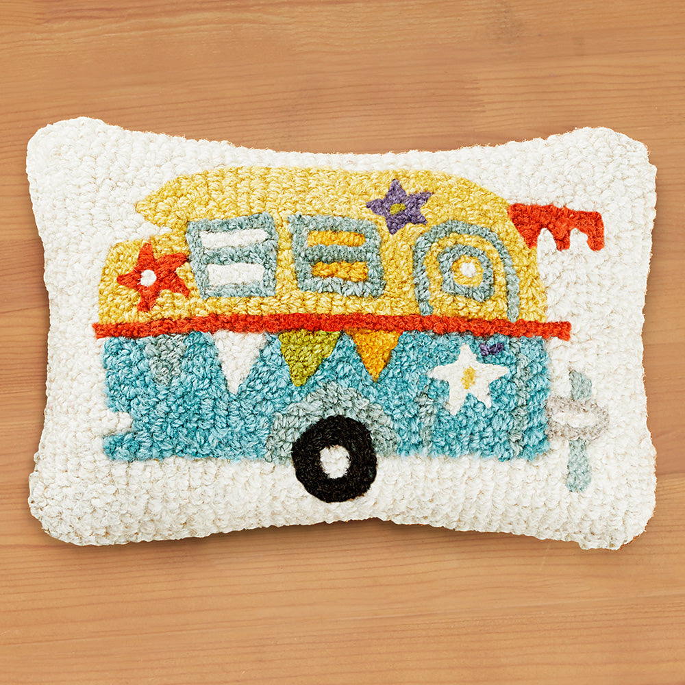 "Chandler 4 Corners 8"" x 12"" Hooked Pillow, Lil Camper"