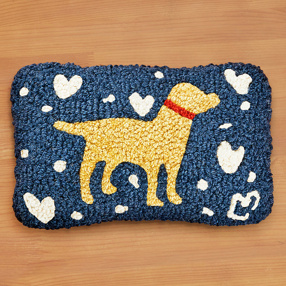 "Chandler 4 Corners 8"" x 12"" Hooked Pillow, Lab Love"