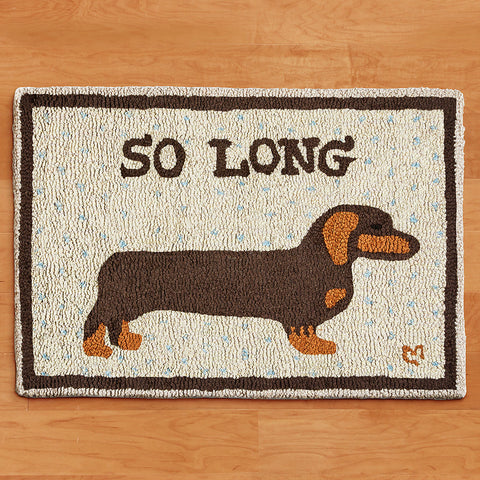 "Chandler 4 Corners 20"" x 30"" Hooked Rug, So Long Dachshund"