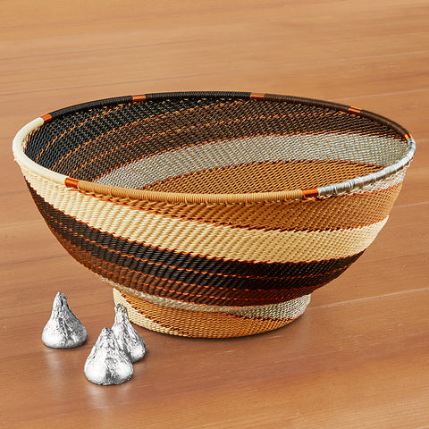 Telephone Wire Bowl, Mocha Spiral