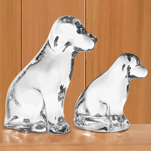 Simon Pearce Glass Figurine, Dog & Puppy