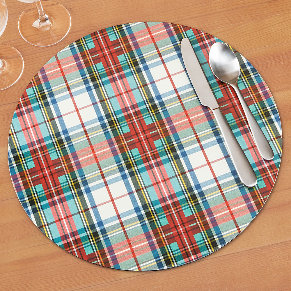 Caspari Round Placemat, Dress Stewart Tartan