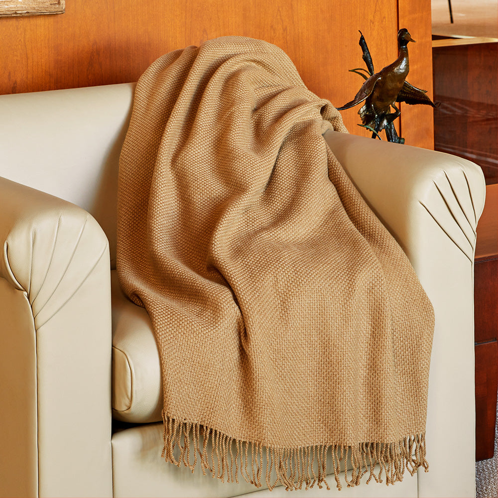 Fibre by Auskin Woven Camel Fringed Throw, Basketweave