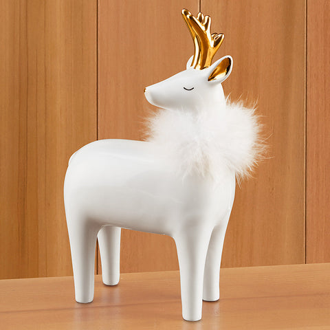 Reindeer Figurine with Fur Collar