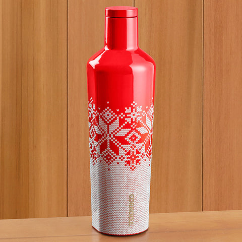 Corkcicle Insulated Canteen, Fairisle Red - 25 oz.