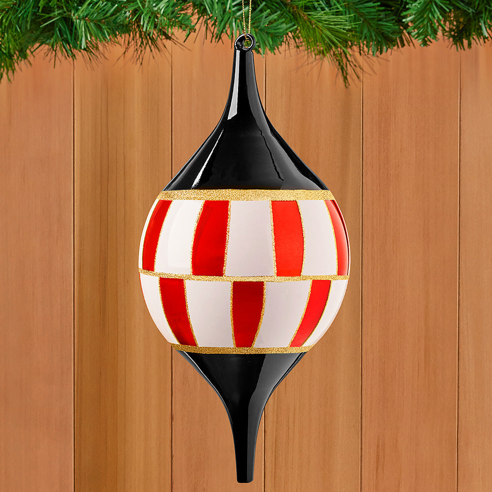 Black, White and Red Harlequin Glass Ornament