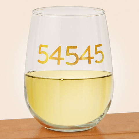 Manitowish Waters Zip Code Stemless Wine Glass
