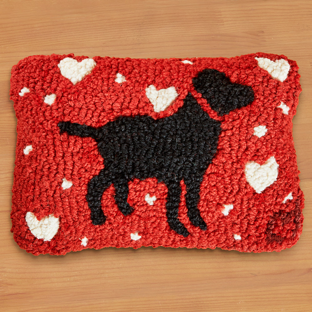 "Chandler 4 Corners 8"" x 12"" Hooked Pillow, Black Lab Love"