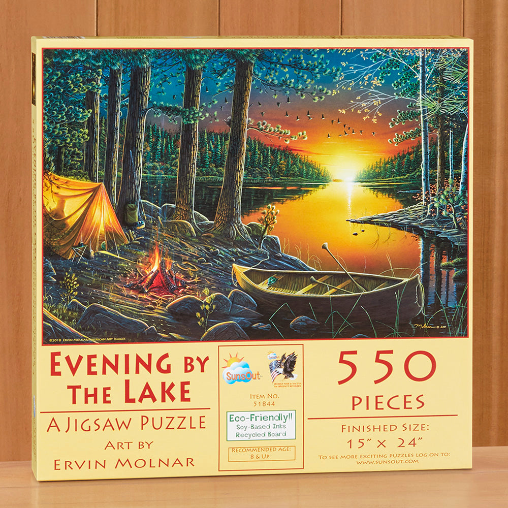 "550 Piece Jigsaw Puzzle, ""Evening by the Lake"" by Ervin Molnar"
