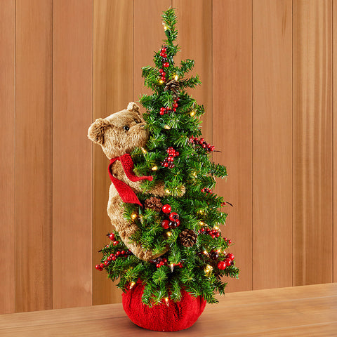 Lighted Christmas Tree with Bear
