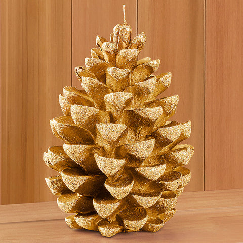 Jumbo Gold Pine Cone Glitter Candle
